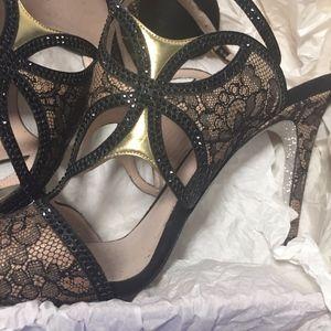Rene Caovilla Shoes - RENE CAOVILLA BLK BEIGE LACE STRASS